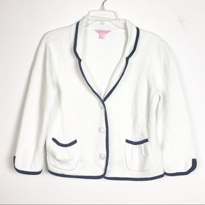 Lilly Pulitzer Knit Button Front Blazer White Navy